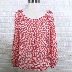 Trina Turk Red Polka Dot Blouse Top Button Front